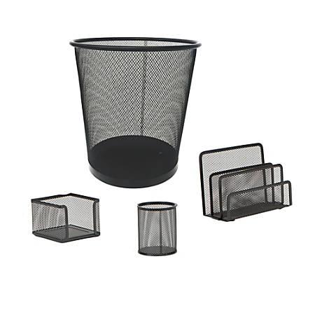 Mind Reader Mesh Desk Organizer Set With Trash Can, Black