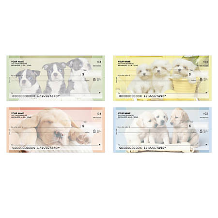 "Personal Wallet Checks, 6"" x 2 3/4"", Singles, Puppy Love, Box Of 150"