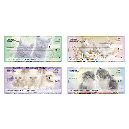 """Personal Wallet Checks, 6"""" x 2 3/4"""", Singles, Purrfect, Box Of 150"""