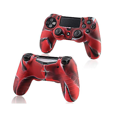 Insten Silicone Skin Case For Sony PlayStation 4 Controller, Camouflage Navy Red