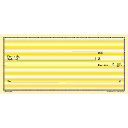 """Personal Wallet Checks, 6"""" x 2 3/4"""", Singles, Yellow Safety, Box Of 150"""