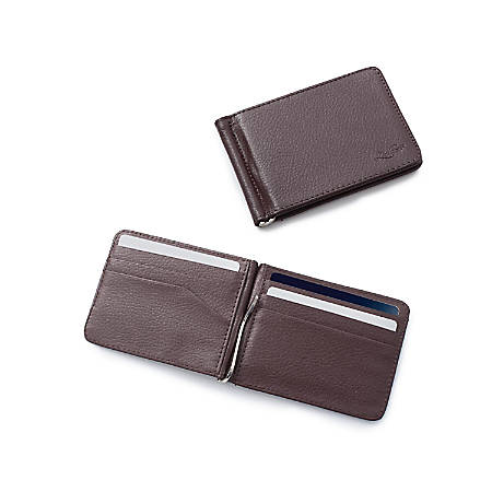 Zodaca Stylish Thin Leather Wallet With Removable Money Clip, Brown