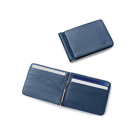 Zodaca Stylish Thin Leather Wallet With Removable Money Clip, Dark Blue