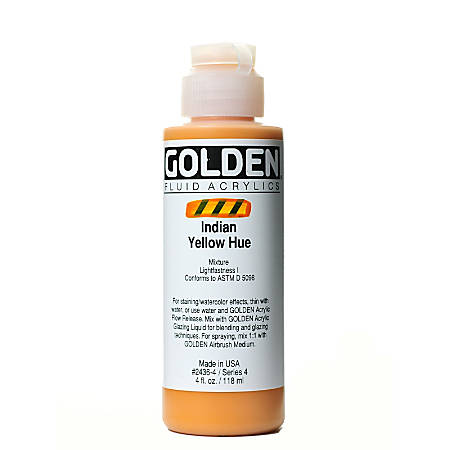 Golden Fluid Acrylic Paint, 4 Oz, Historical Indian Yellow Hue