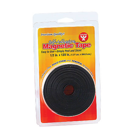 "Hygloss Magnetic Tape Strips, 0.5"" x 3.33 Yd., Black, Pack Of 6"