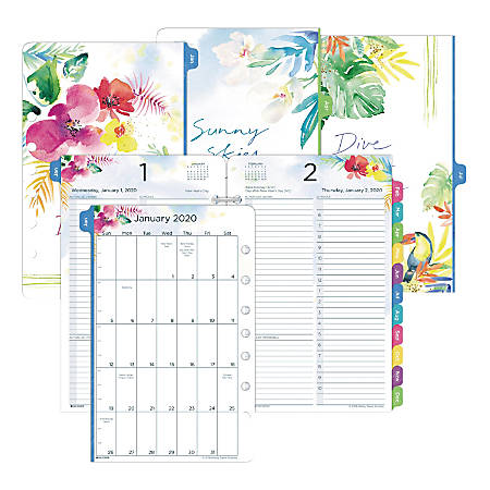 """Day-Timer® Kathy Davis Daily Planner Refill, Desk-Size 4, 5-1/2"""" x 8-1/2"""", January To December 2020, 521112001"""