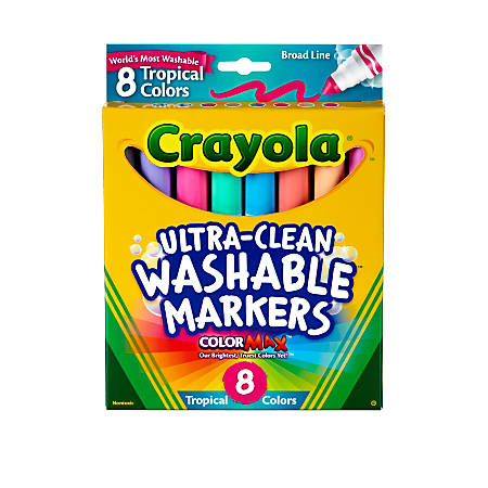 Crayola® Washable Markers, Broad Line, Assorted Tropical Colors, Box Of 8
