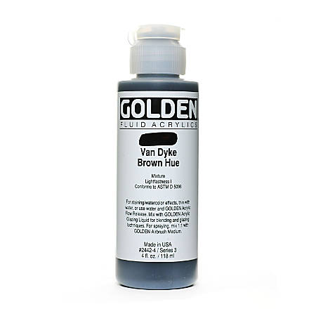 Golden Fluid Acrylic Paint, 4 Oz, Historical Van Dyke Brown Hue