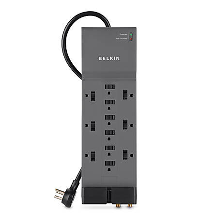 Belkin® Home/Office Series Surge Protector, 12 Outlets, Phone Line And Coaxial Protection, 8' Cord, 3780 Joules, Black