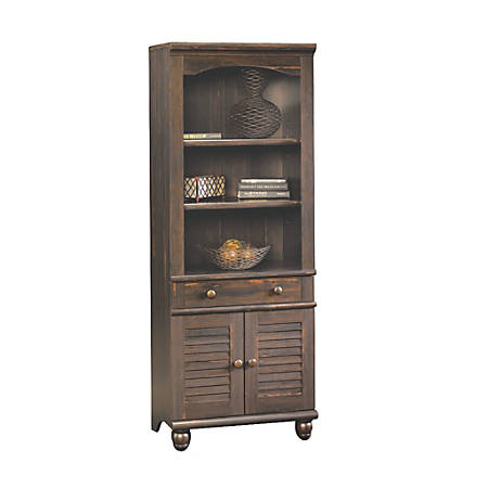 Sauder® Harbor View Bookcase With Doors And Drawer, 5-Shelf, Antique Paint