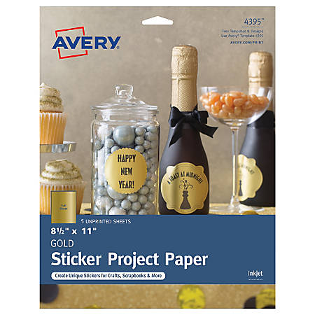 "Avery® Full-Sticker Project Paper, 4395, 8 1/2"" x 11"", Matte, Gold, 5 Sheets"