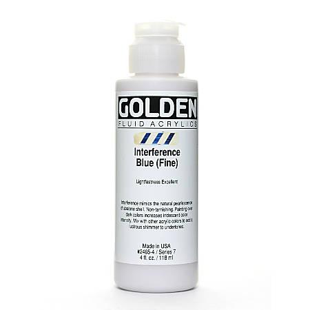 Golden Fluid Acrylic Paint, 4 Oz, Interference Blue Fine