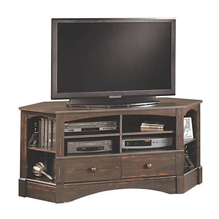 Sauder® Harbor View Corner Entertainment Credenza, Antiqued Paint