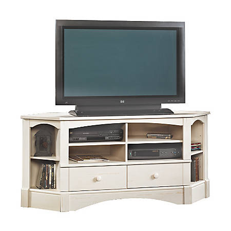 Sauder® Harbor View Corner Entertainment Credenza, Antiqued White