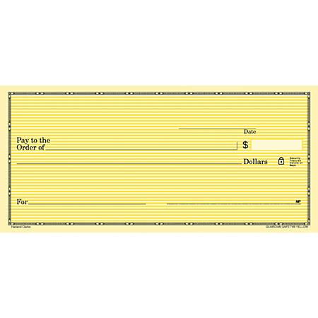"Personal Wallet Checks, 6"" x 2 3/4"", Duplicates, Yellow Safety, Box Of 150"