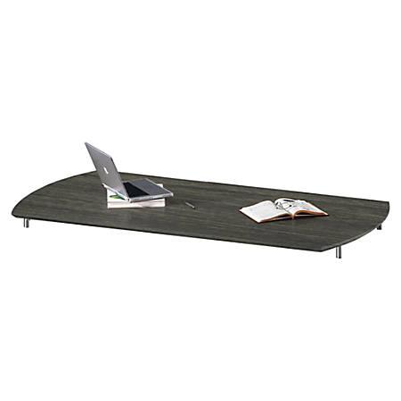 "Mayline Curved Desk Top - 36"" x 63"" x 1"" x 1"" - Beveled Edge - Material: Polyvinyl Chloride (PVC) Edge - Finish: Gray Steel Laminate"