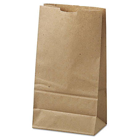 """General Paper Grocery Bags, #6, 6"""" x 3 5/8"""" x 11 1/16"""", 35 Lb, Brown, Pack Of 500"""