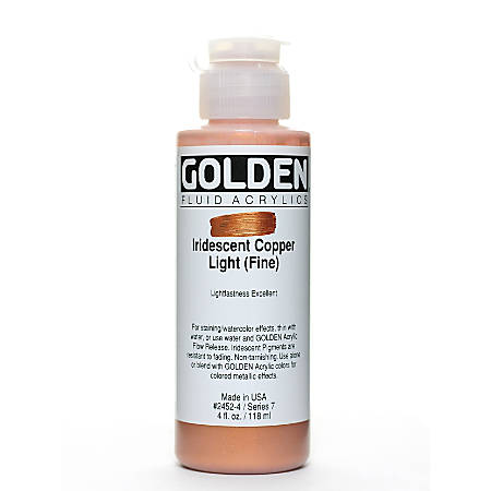 Golden Fluid Acrylic Paint, 4 Oz, Iridescent Copper Light Fine
