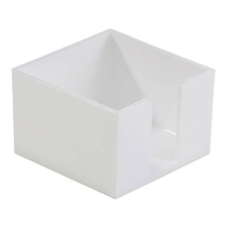 "Realspace™ Plastic Memo Holder, 3-3/8""H x 3-3/8""W x 2-1/4""D, White"