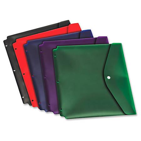 "Cardinal Dual Pocket Snap Envelopes - For Letter 8 1/2"" x 11"" Sheet - 3 x Holes - Ring Binder - Blue, Black, Red, Purple, Green - Poly - 5 / Pack"