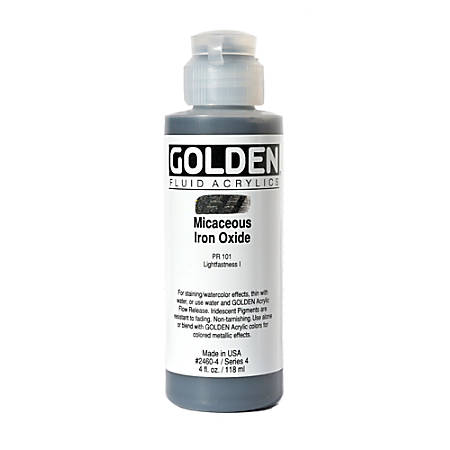 Golden Fluid Acrylic Paint, 4 Oz, Iridescent Micaceous Iron Oxide
