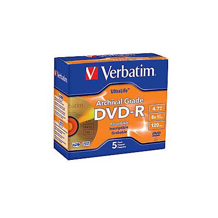 Verbatim® UltraLife™ Archival Grade Gold DVD-R, Pack Of 5