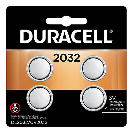Duracell 3-Volt Lithium 2032 Coin Batteries, Pack Of 4