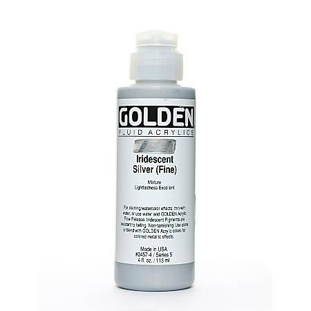 Golden Fluid Acrylic Paint, 4 Oz, Iridescent Silver Fine
