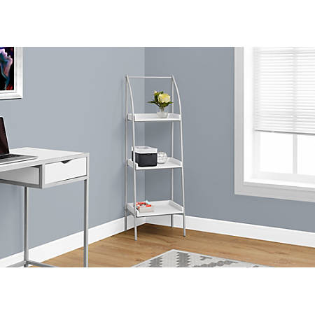 Monarch Specialties 3-Shelf Backless Metal Bookcase, White/Silver
