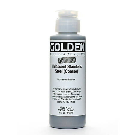 Golden Fluid Acrylic Paint, 4 Oz, Iridescent Stainless Steel Coarse