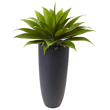 "Nearly Natural 38""H Plastic Agave Plant With Cylinder Planter, Green/Gray"