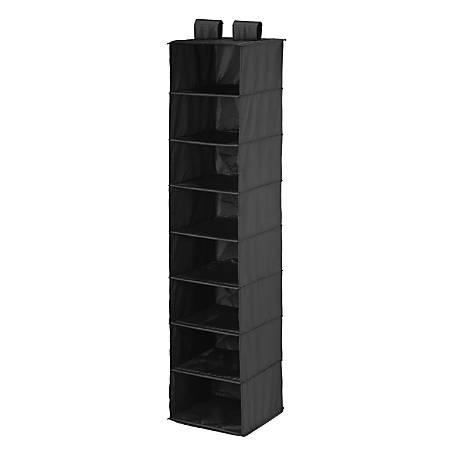 "Honey-Can-Do 8-Shelf Hanging Vertical Closet Organizer, 54""H x 12""W x 12""D, Black"