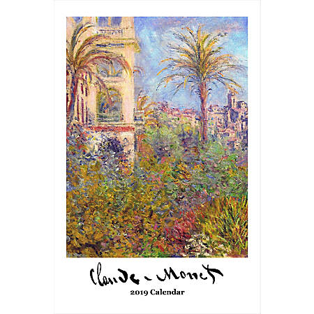"Retrospect Monthly Wall Calendar, Claude Monet, 19-1/4"" x 12-1/2"", Multicolor, January to December 2019"