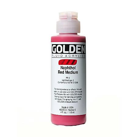 Golden Fluid Acrylic Paint, 4 Oz, Naphthol Red Medium