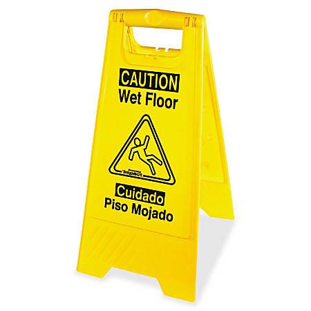 "Impact Products English/Spanish Wet Floor Sign - 6 / Carton - Caution Wet Floor Print/Message - 1"" Width x 24.6"" Height - Rectangular Shape - Impact Resistant, Foldable - Yellow, Black"