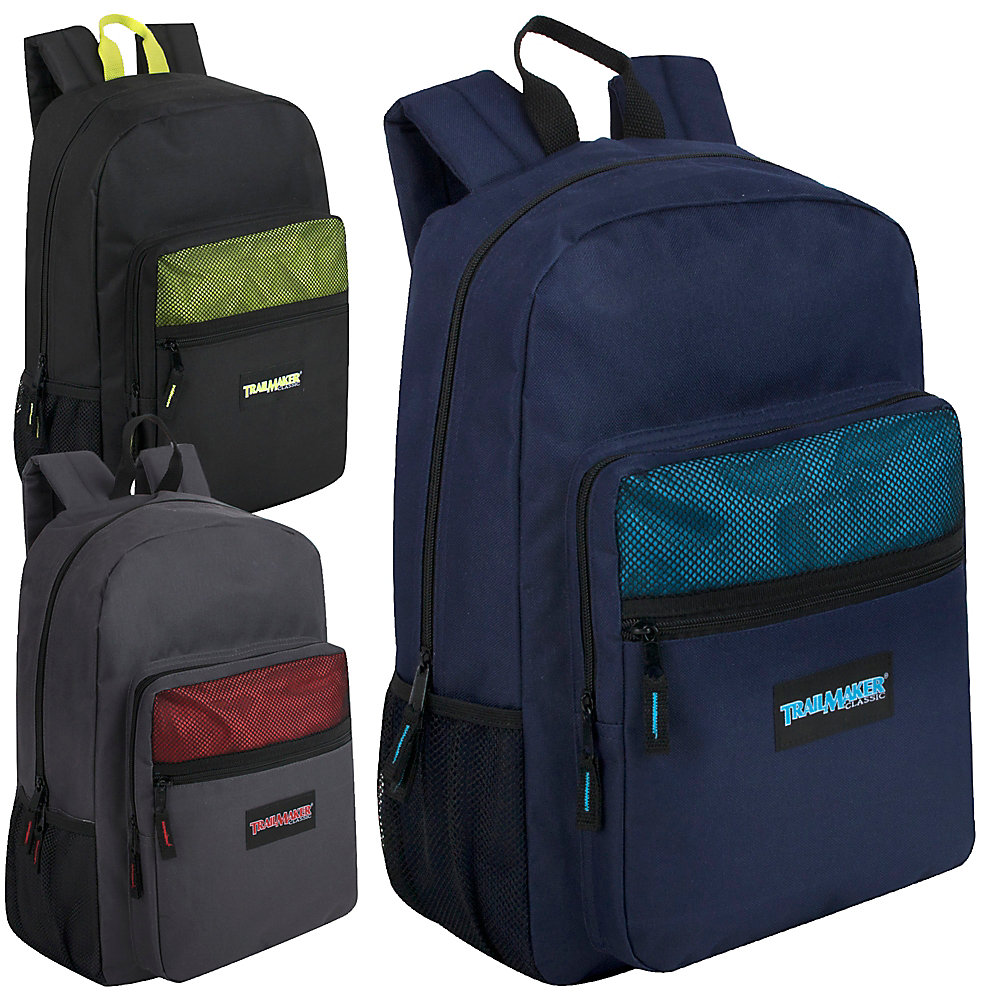 Trailmaker Classic Backpacks, Assorted Colors, Case Of 24 Backpacks