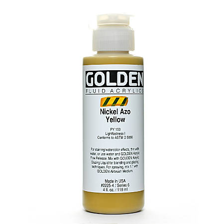 Golden Fluid Acrylic Paint, 4 Oz, Nickel Azo Yellow