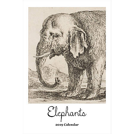 "Retrospect Monthly Wall Calendar, Elephants, 19-1/4"" x 12-1/2"", Multicolor, January to December 2019"