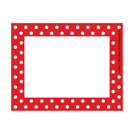 "Barker Creek Self-Adhesive Name Badge Labels, 3 1/2"" x 2 3/4"", Red-And-White Dots, Pack Of 45"