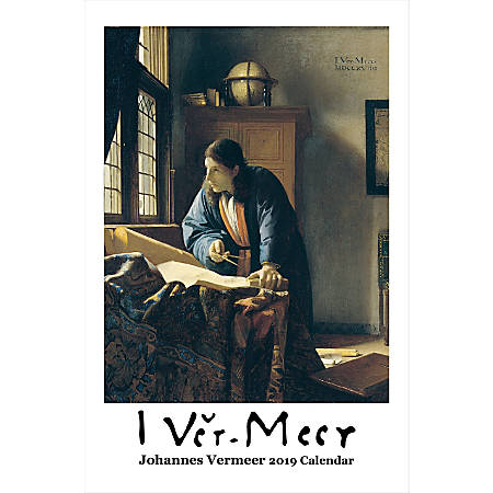 "Retrospect Monthly Wall Calendar, Johannes Vermeer, 19-1/4"" x 12-1/2"", Multicolor, January to December 2019"