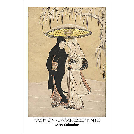"""Retrospect Monthly Wall Calendar, Fashion In Japanese Art, 19-1/4"""" x 12-1/2"""", Multicolor, January to December 2019"""