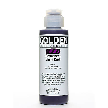 Golden Fluid Acrylic Paint, 4 Oz, Permanent Violet Dark