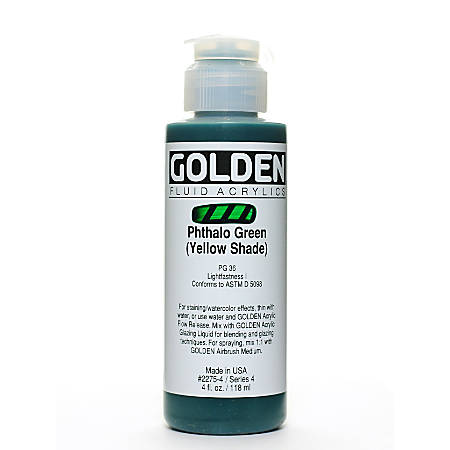 Golden Fluid Acrylic Paint, 4 Oz, Phthalo Green/Yellow Shade