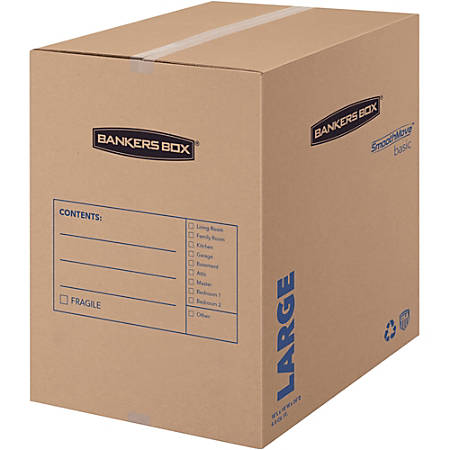 """Fellowes SmoothMove?¢ Basic Moving Boxes, Large - Internal Dimensions: 18"""" Width x 18"""" Depth x 24"""" Height - External Dimensions: 18.3"""" Width x 18.3"""" Depth x 24.8"""" Height - Kraft, Black - Recycled - 15 / Carton"""