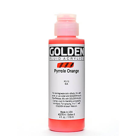 Golden Fluid Acrylic Paint, 4 Oz, Pyrrole Orange