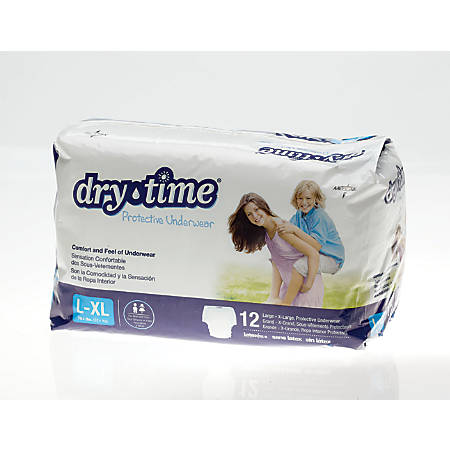 DryTime Disposable Protective Youth Underwear, Large/X-Large, 12 Per Bag, Case Of 4 Bags