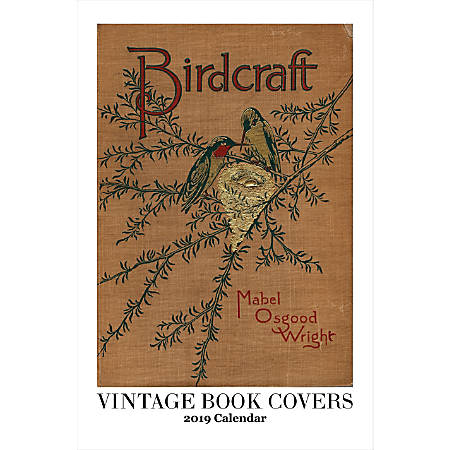 """Retrospect Monthly Wall Calendar, Vintage Book Covers, 19-1/4"""" x 12-1/2"""", Multicolor, January to December 2019"""