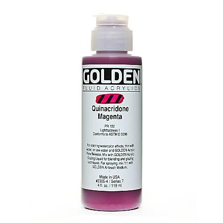 Golden Fluid Acrylic Paint, 4 Oz, Quinacridone Magenta