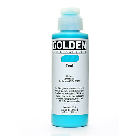 Golden Fluid Acrylic Paint, 4 Oz, Teal