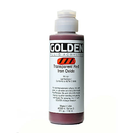 Golden Fluid Acrylic Paint, 4 Oz, Transparent Red Iron Oxide
